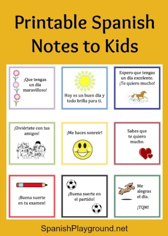 These printable Spanish notes are perfect for a lunch box or backpack.