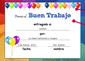 Printable spanish certificates from onlinefreespanish spanish link to printable spanish certificates yadclub Images