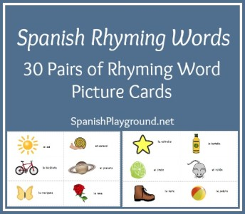 Spanish rhyming word cards for kids to play a variety of games.