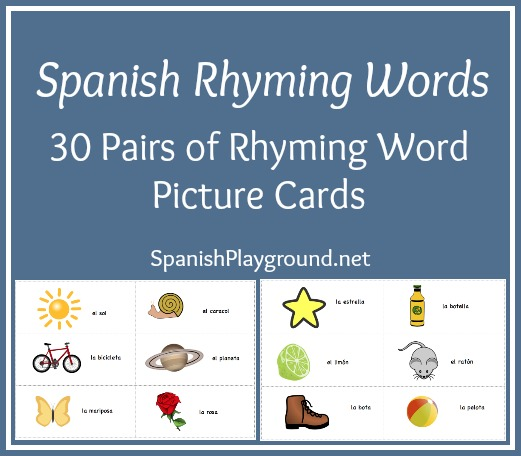 Worksheets Kids Ramying Words printable spanish cards rhyming words from playground playground