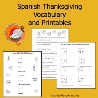 Spanish Thanksgiving vocabulary list and printables.