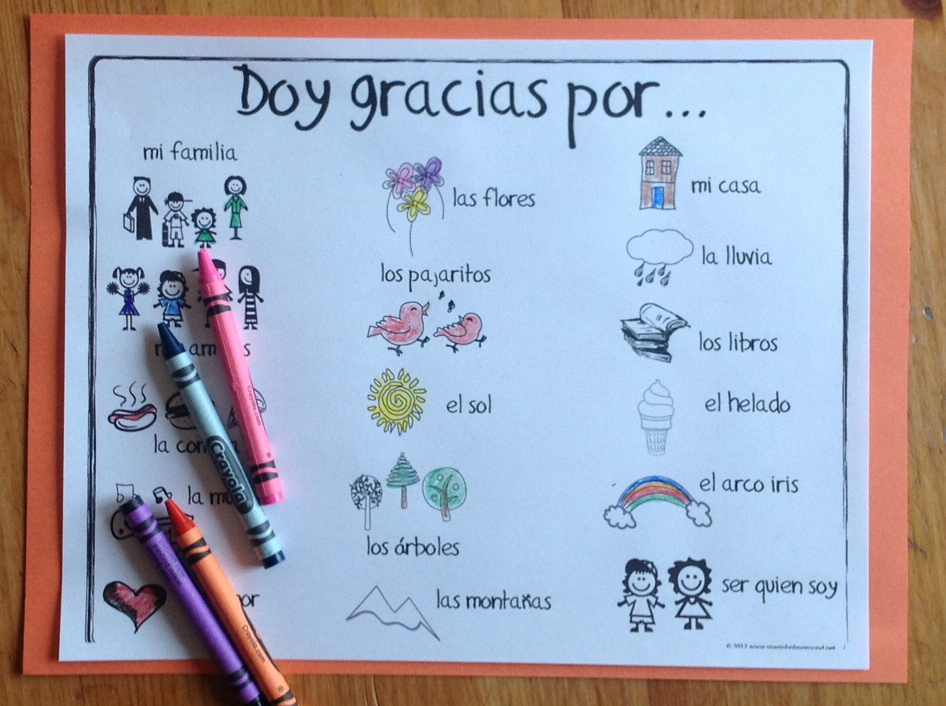 Spanish Thanksgiving Printables