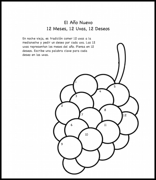 spanish new year 12 grapes printable activity and coloring page - Printable Activity