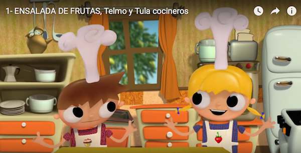 Spanish videos for kids in a cute cooking series.