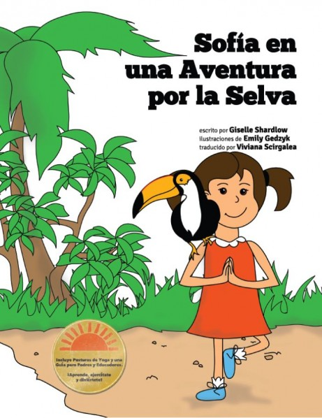 Spanish story with yoga poses integrated into the text engages kids with language.