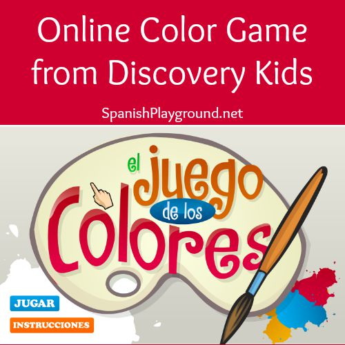 Spanish color game teaches children color vocabulary and color mixing.