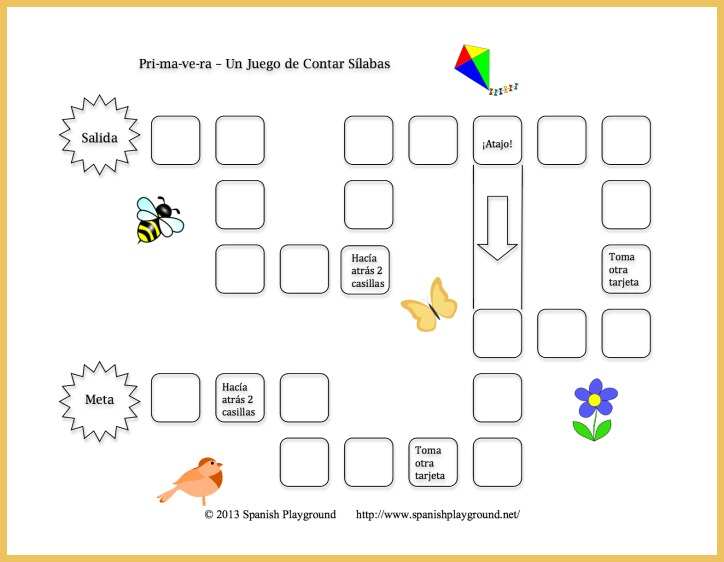 This printable Spanish game helps children learn to hear syllables in words.