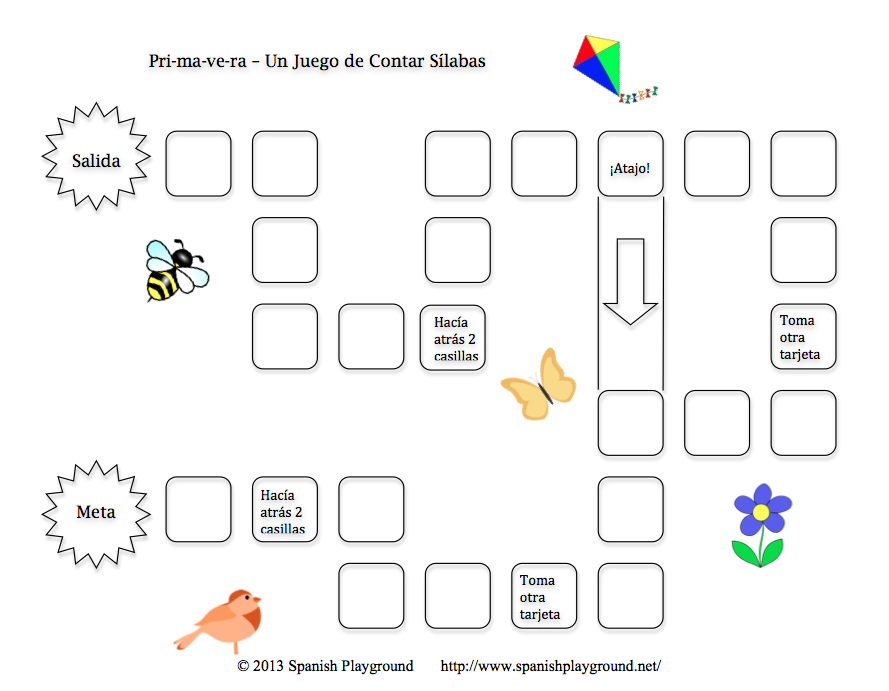 Printable Spanish Game for Kids - Primavera Clap and Count Syllables ...