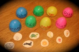 spanish games for children eggs opposites