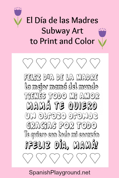 Mother's Day printable Spanish poster to color.