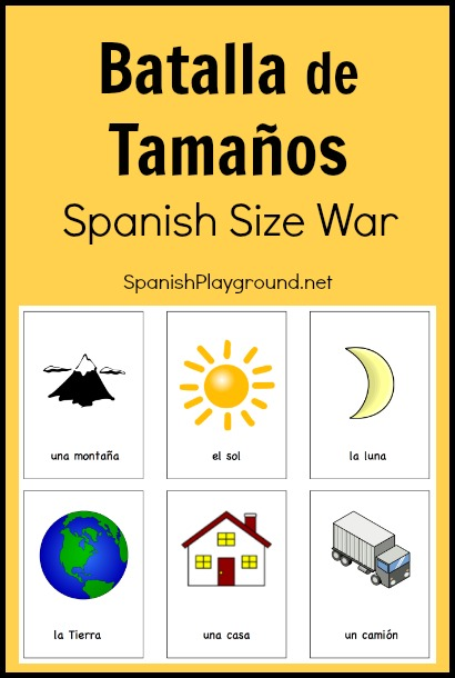 A printable Spanish game for learning sizies and comparisons.