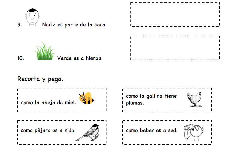 Printable Spanish Activity for Kids Simple Analogies Spanish – Analogies Worksheet 5th Grade