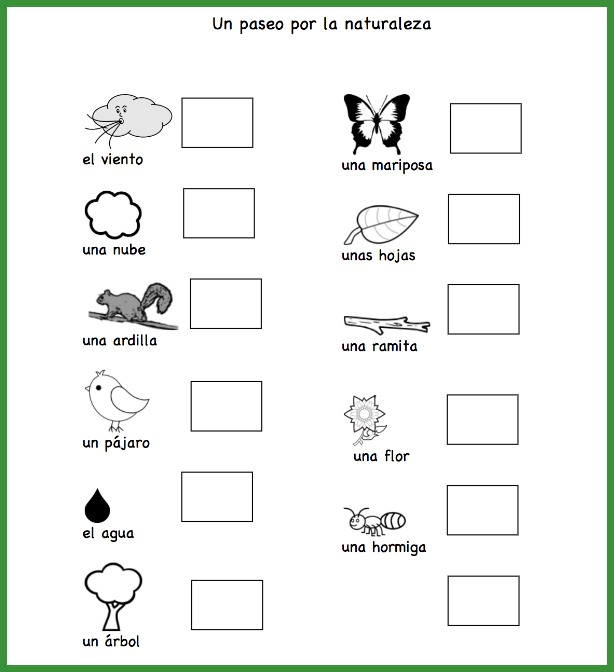 Take a Spanish nature walk with this check list of vocabulary for kids.