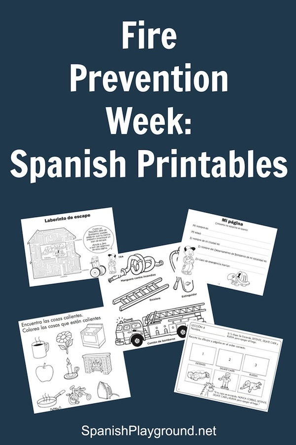 Printable materials in Spanish for National Fire Prevention Week.