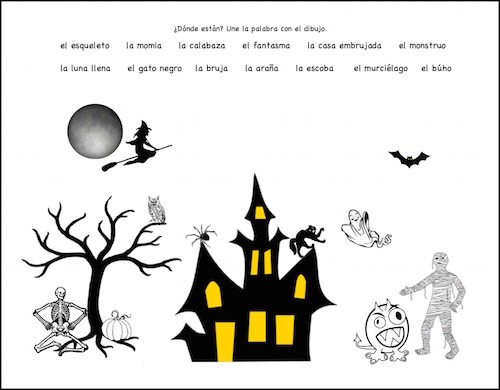 Spanish Halloween matching activity.