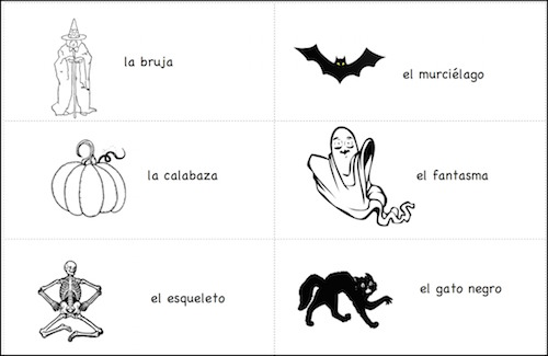 Spanish Halloween printable cards