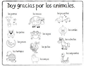 Spanish Thanksgiving vocabulary coloring pages teach children words for animals and to appreciate our animal friends.