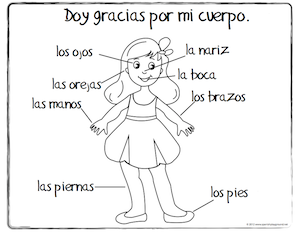 spanish coloring sheet body girl