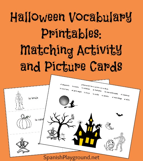 Spanish Halloween printables include picture cands and a matching activity.