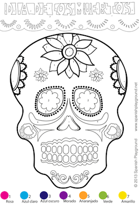 spanish color by number easy picture for da de los muertos