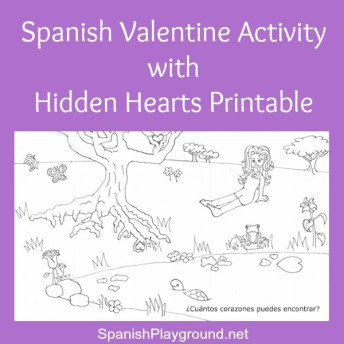 Spanish Valentine activity for kids with a printable hidden hearts search.
