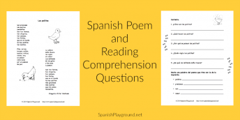 The poem Los pollitos and reading comprehension questions are a good lession for children learning Spanish.