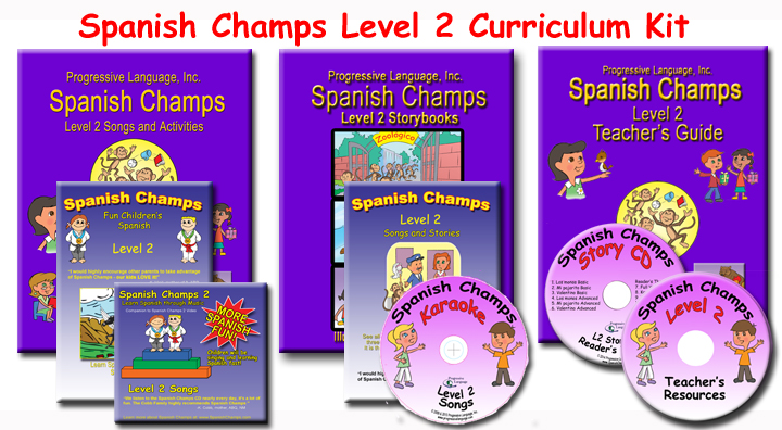 The Spanish Champs Level 2 curriculum for teaching children Spanish