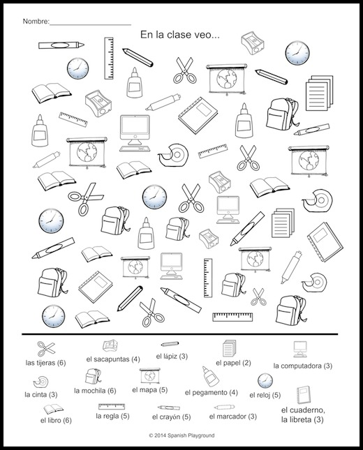 Spanish Classroom Vocabulary Picture Search Spanish Playground – Classroom Objects in Spanish Worksheet