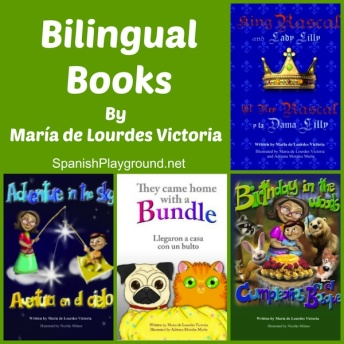 Bilingual children's books in English and Spanish for language learners.