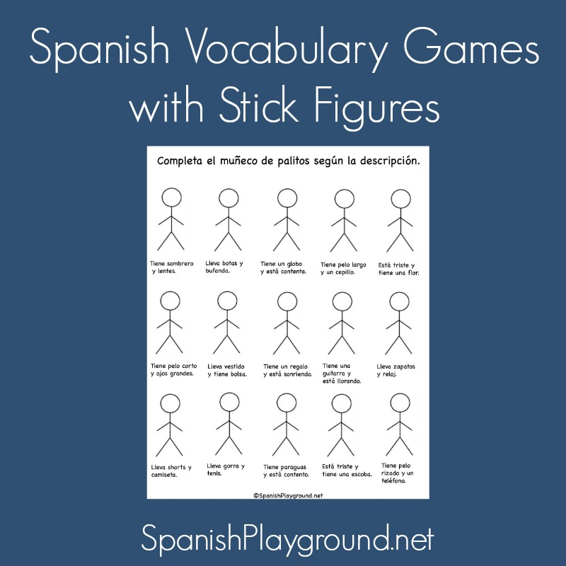 Spanish Vocabulary Games with Stick Figures - Spanish Playground