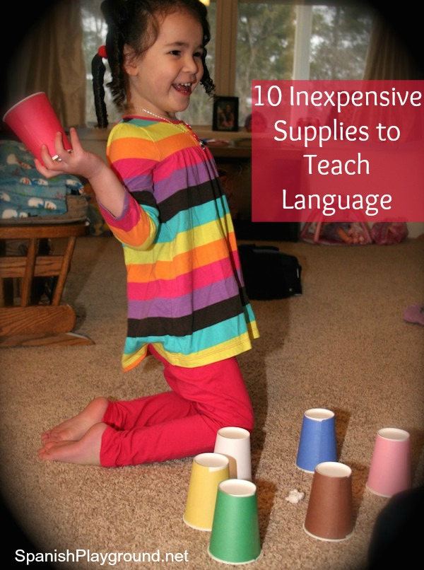 A list of inexpensive supplies to teach language to kids.