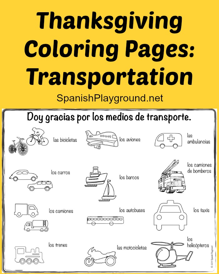 thanksgiving coloring pages transportation spanish playground. Black Bedroom Furniture Sets. Home Design Ideas