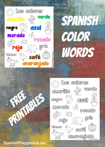 spanish color words printable coloring pages spanish playground. Black Bedroom Furniture Sets. Home Design Ideas