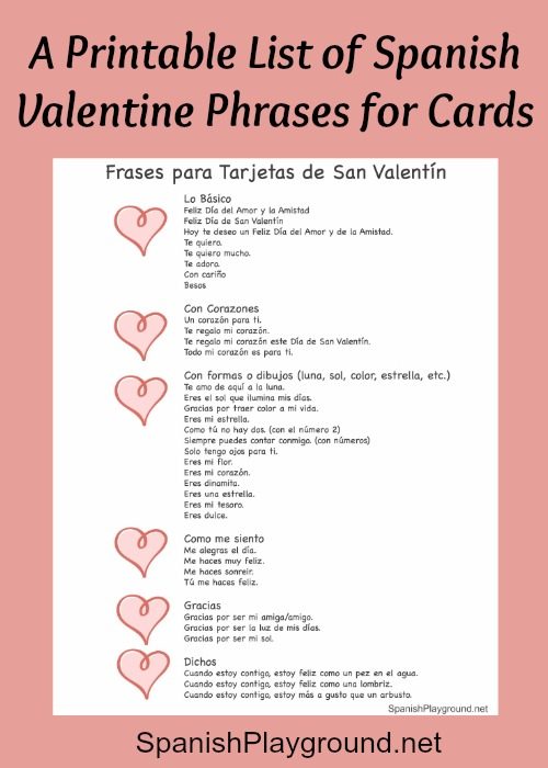 Spanish Valentine Phrases for Cards Spanish Playground – San Valentines Cards