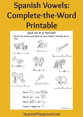 Kids practice Spanish vowels and vocabulary with a printable activity and video.