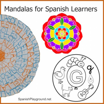 Mandala coloring pages to use with kids learning Spanish.