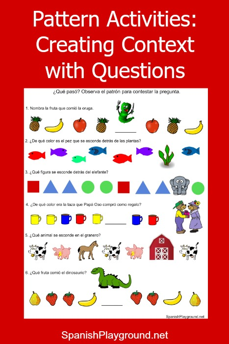 Pattern games for kids learning Spanish.
