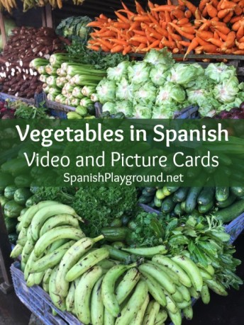 Kids learn vegetables in Spanish with a video and picture cards.