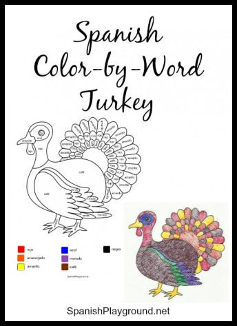 Spanish colors in a fun color-by-word page.