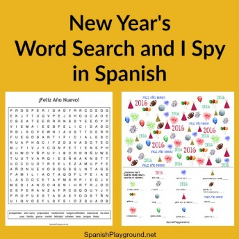 Spanish New Year I Spy and word search games for kids teach celebration vocabulary.