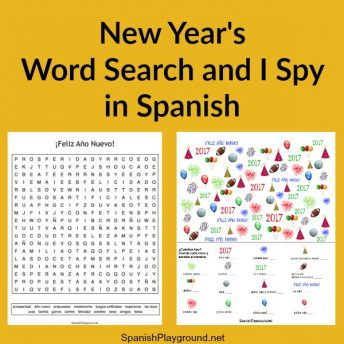 Two Spanish New Year games for kids to practice vocabulary as they celebrate.