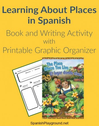 Kids learn Spanish places vocabulary with a children's book and writing activity.
