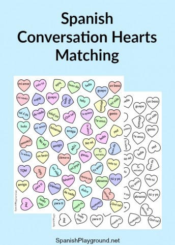 An printable activity using Spanish candy hearts to teach kids language.