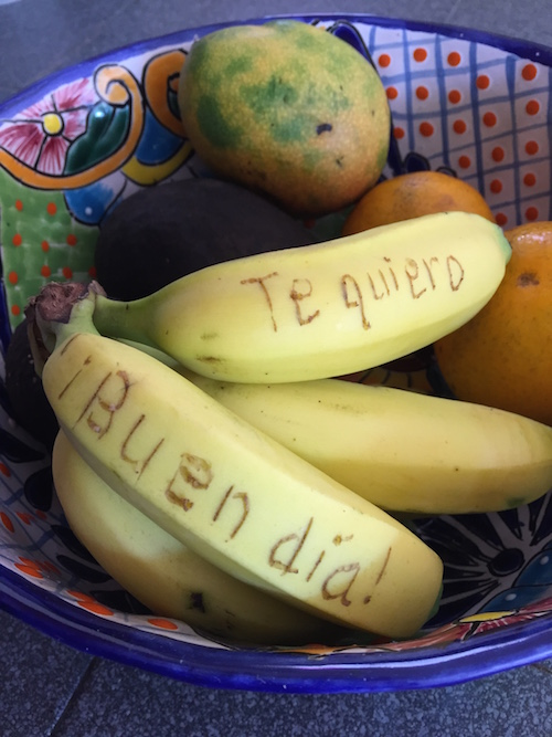 Kids can write secret messages on a banana to practice Spanish.