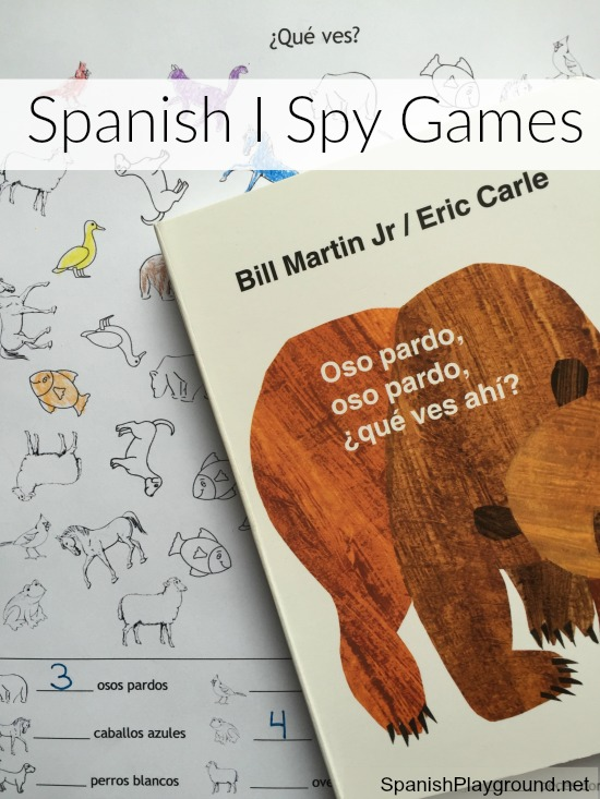 I Spy games for kids learning Spanish can be adpated to teach vocabulary related to any theme.