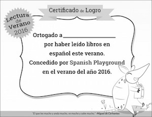 A certificate to recognize reading in Spanish.