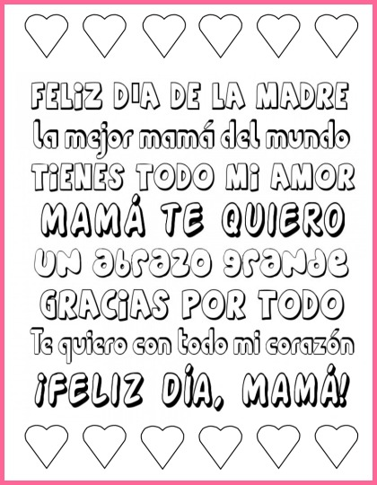 Mother's Day printable Spanish poster to color and use as a gift.