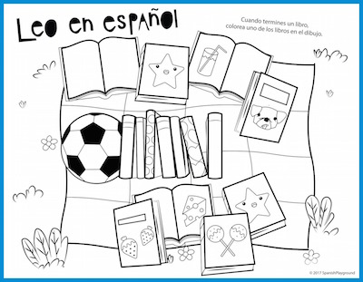 A Spanish reading log for children to color as they finish books during the summer.