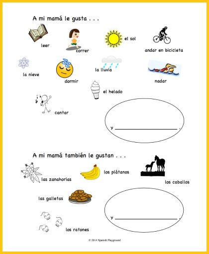 A Spanish Mothers Day activity for practicing gustar.