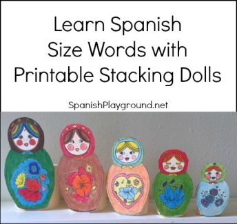 Printable stacking dolls are good for teaching children Spanish size words.